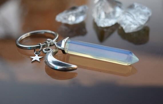 Crystal Keychain, Moon Crystal Pendulum Key Chain, Crescent Moon Opalite Rose Quartz Crystal Wand, Long Crystal Spiritual Luna Moon Keychain