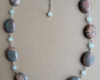Canyon Marble and Aquamarine Necklace, Natural Stone Jewelry