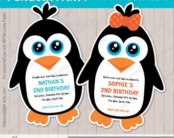 PENGUIN BIRTHDAY INVITATION, Penguin invitation, Penguin party printables  - Instant Download, Edit Text in Adobe Reader