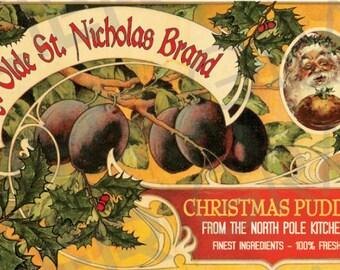 Vintage Christmas Pudding Label Plum Pudding Label Digital Download Collage Sheet Plum Pudding Christmas Printable Graphics Scrapbook Image