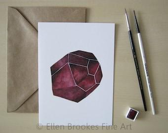 Greeting Card - Red Garnet Crystal - January Birthstone - Birthday - Recycled - Gemstone - Watercolor Illustration Print