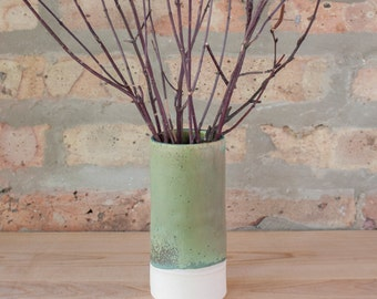 Sage Green Ceramic Cylinder Bud Vase by Barombi Studios