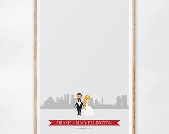 Miami Wedding Guest Book Alternative, Custom Miami Wedding Sign, Digital Download, Skyline Guest Book, Gift for the Couple, Guestbook Ideas