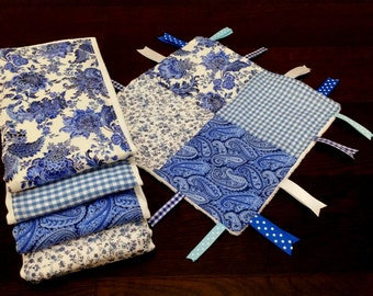 Baby Burp Cloths - set of 4 blue and white floral
