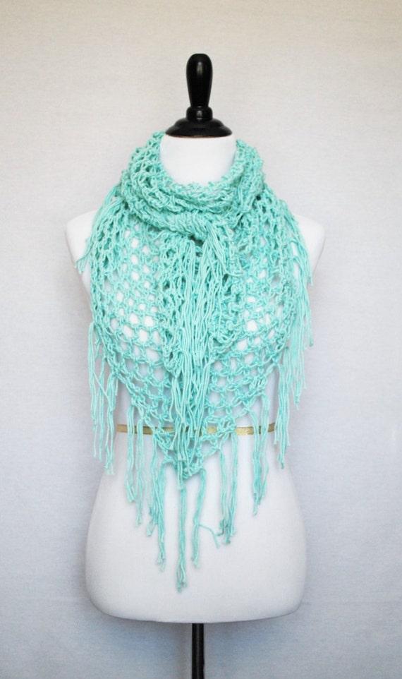 Aqua Boho Chic Cowl, Crochet Fringe Scarf, Handmade Triangle Scarf, Blue Mesh Crochet Shawl, Cotton Cowl, Infinity Scarf, Aqua Shoulder Wrap