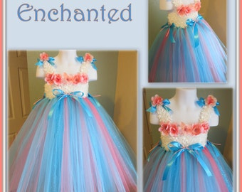 SUMMER SALE Purely 'Enchanted'! Gorgeous, Dainty & Elegant Tutu Dress - Fits Toddler sz 3T/4T - Flower Girl - Pageant
