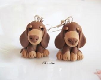 Choco & tan dachshund earrings,polymer clay,Dachshund,dog