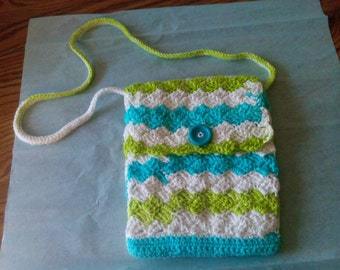 Crocheted Shoulder Bag . Beautiful ! ! !   Small Multicolored  ! !  New ! !  10 x 7 1/2 ! ! !