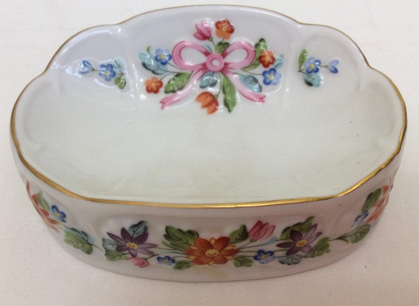 Vintage White Ceramic Floral Dish White Ceramic Soap Dish
