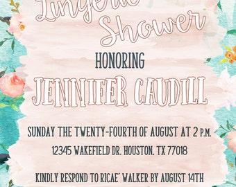 Floral Watercolor - Lingerie Shower - Printable Invitation - Wedding Shower - Bachlorette Party - Bridal Shower