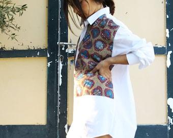 White multi color Greek prints long button down collar shirt.over size