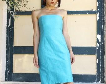 Vintage blue silk taffeta strapless midi dress.size S