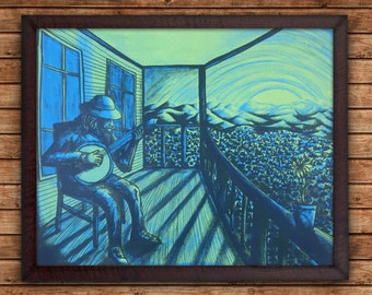 Back Porch Bluegrass - 16x20 Silkscreen Art Print