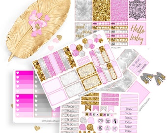 Weekly Kit sticker, life planner sticker for kikki k, filofax, erin condren or Happy planner, Erin Condren, Marmor Kit
