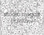 Adult Colouring Page A4 and A5. Cute Creatures. Art Therapy. Colouring for adults. Dividers. Detailed colouring