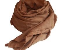 Linen Scarf, Golden Brown / Men's Scarf / Women's Scarf / Spring Scarf / Linen Scarf / Brown Scarf / Brown Linen Scarf