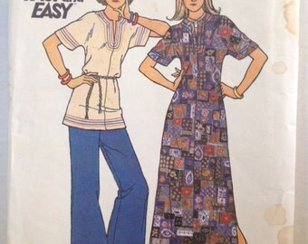 """Butterick 3590 Vintage Sewing Pattern Womens Maxi Dress Caftan Tunic 1970s 34"""" Bust"""