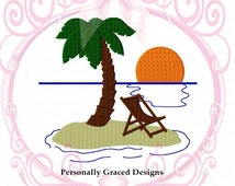 Deserted Island, Beach Machine Embroidery Design, Palm Tree, Sunset, Hawaii, Ocean, Filled Stitch Embroidery, 4 Sized, 3in, 4in, 5in, 6in