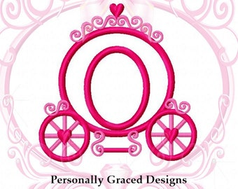 Instant Download Princess Carriage with Hearts and Swirls Machine Applique Embroidery Design 3in, 4in, 5in, 6in, Carriage Applique, Girls