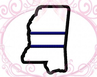 Instant Download Mississippi State Police Applique Thin Blue Line Embroidery Design 3in, 4in, 5in, 6in Digital Download, Support Blue, LEO