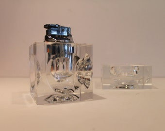 Vintage Clear Crystal Tabletop Lighter with Matching Ashtray - Smokers Set - Crystal Lighter