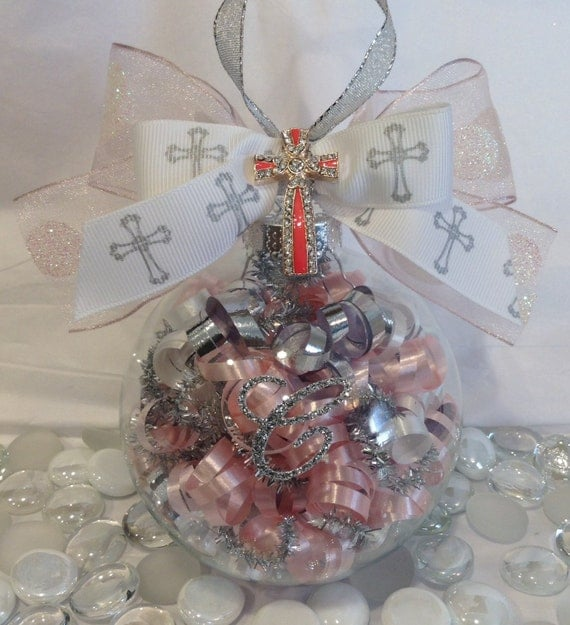 Baptism Ornament Cross Ornament Girl Baptism By: Personalized Christening Cross Glass Ornament, Baptism