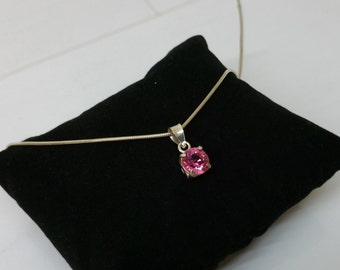 Pendant in Silver 925 Crystal pink around SK176