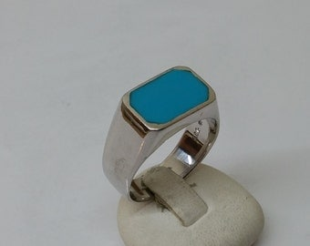 925 Silver ring with turquoise plate turquoise ring SR446