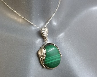 Pendant in Silver 925 Malachite vintage floral SK865