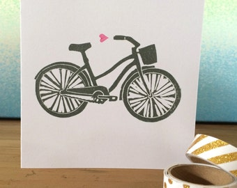 Beach Cruiser Bicycle & Heart Hand Printed Greetings Card - Recycled Card