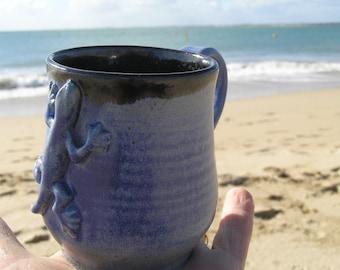 Blue gecko mug - pottery mug - stoneware mug