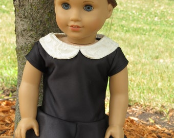 Black Skater Dress with Lace Peter Pan Collar - American Girl Doll Clothes