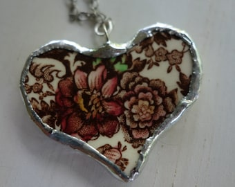 Broken china heart pendant necklace- vintage china heart necklace-  red flower heart pendant necklace- heart pendant - heart necklace