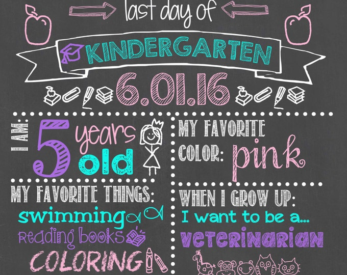 Last Day of Kindergarten Chalkboard / Last Day of School Chalkboard Sign / Last Day of School Sign / Last Day Chalkboard Sign / Digital File