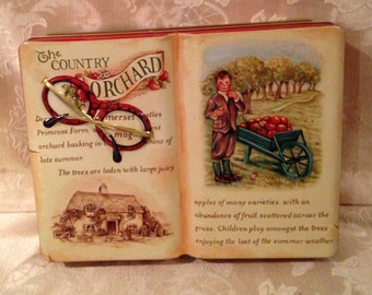 English Book Tin, Silver Crane Tin, Collectible Tin, Tinware, Country Orchard Tin, Embossed Tin