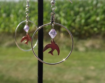 Sparrow Hoop Earrings, Handmade Earrings, Silver Jewelry