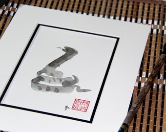 Birthday gift, watercolor painting Chinese Zodiac, Year of the Dragon, Original Sumi Ink Painting, Chines zodiac, feng shui, birthday gift