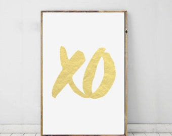 Gold XO Print, xo Art, Typography Art, Printable Art, Hugs And Kisses, Printable Typography, xo Wall Prints, Downloadable Art, XO Wall Art