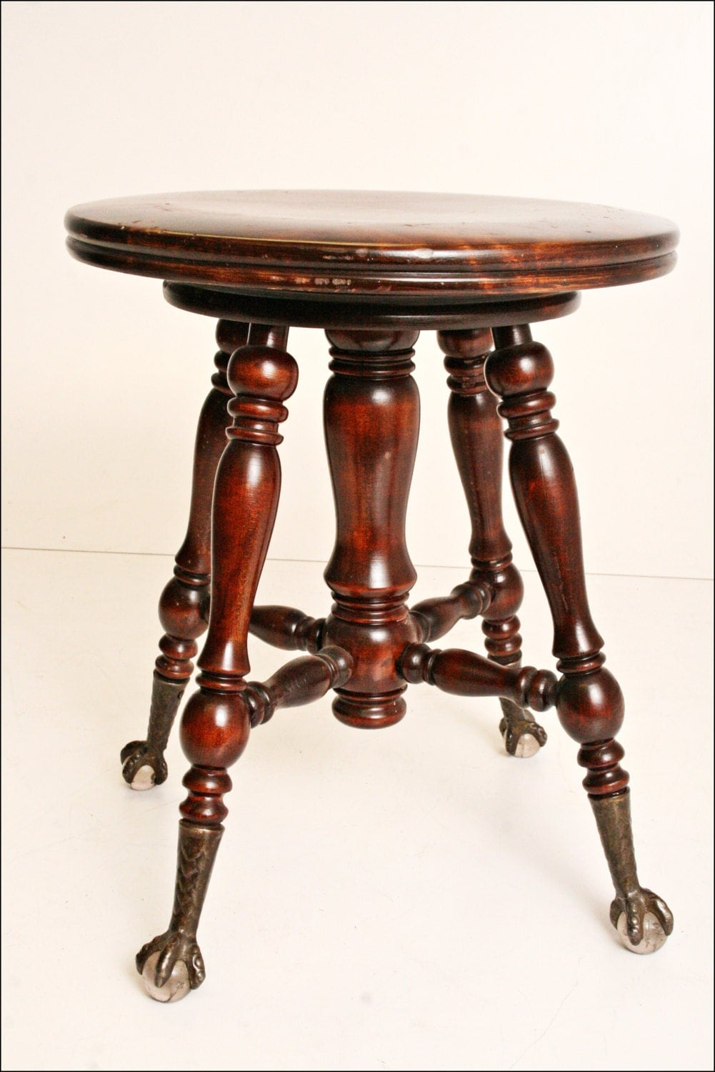 Antique Piano Stool Ball Claw Foot Swivel Wooden Shabby Glass