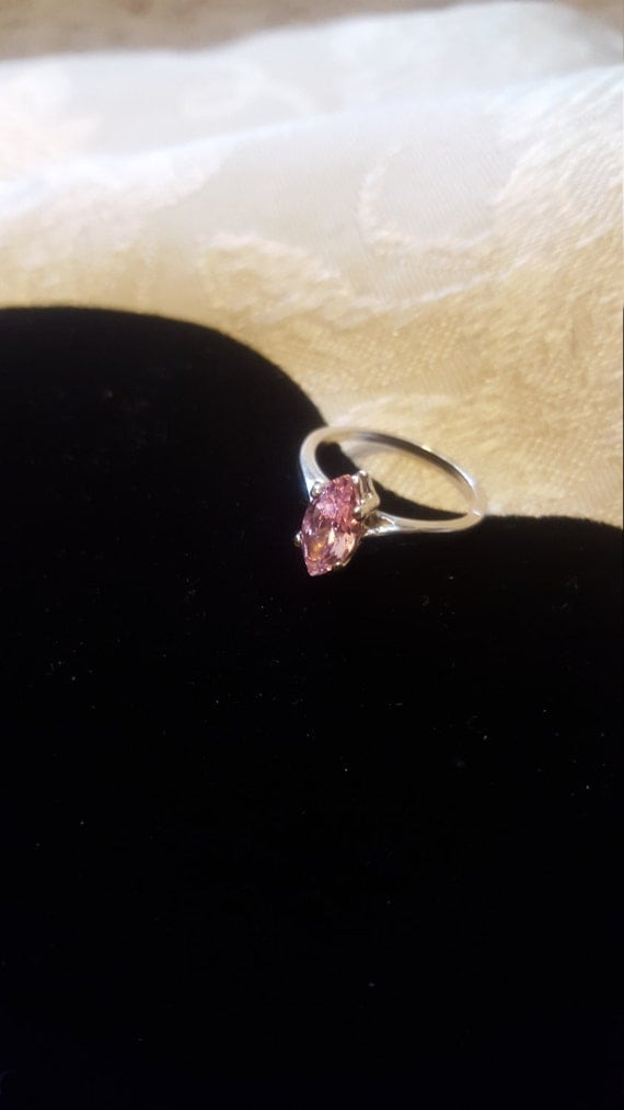 Rose CZ and Sterling Silver Ring Marquise Cut size 6 or 7