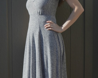 Jersey dress digital PDF sewing pattern for women Skater dress sewing pattern Fitted jersey dress PDF sewing pattern Adult jersey dress PDF