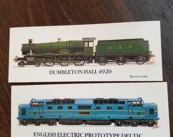 Spotters bookmark locomotive engines vintage 2 pieces