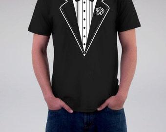 Men's Black Groom Tuxedo Wedding T Shirt, Back Personalized-Optional,  Wedding, Rustic Farm Wedding T Shirt, Groom, Hubby T, Bachelor Party