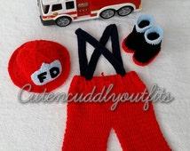 Crochet Pattern, Crochet Fireman prop,  Crochet baby Pattern, Firefighter Photo Prop, Crochet hat, Crochet shoes, Crochet baby sets,  Props