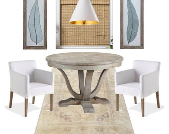 E-Design, Design Board, Neutral Breakfast Nook, Dining Space