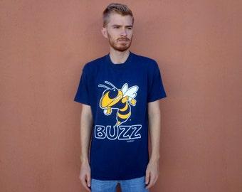 90s GA Tech Buzz Yellow Jackets Thin T-Shirt ~ XL