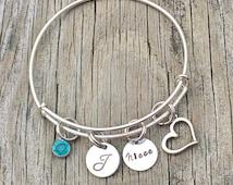 Niece bracelet  - Niece jewelry - Niece gift - Charm bracelet - Niece - Gift for niece - Niece charm bracelet- Personalized bangle