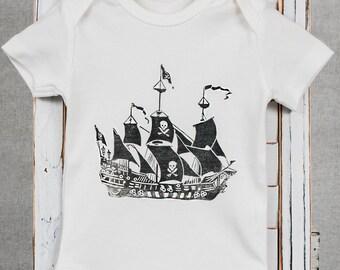 Vintage Pirate Ship- Organic Baby Bodysuit