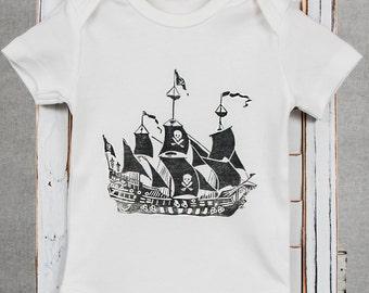 Vintage Pirate Ship- Organic Baby Onesie
