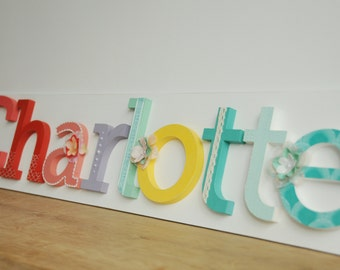 Nameboard, Hand painted and decorated wooden letters for nursery room, Nursery wall decoration, Baby wall alphabet, Custom baby letters